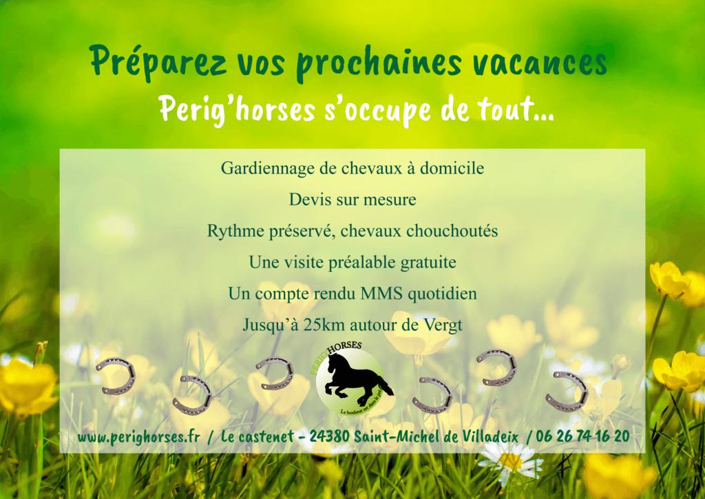 Vacances gardiennage chevaux